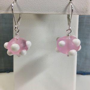 Pink & White Bumpy Lampwork Bead Earrings
